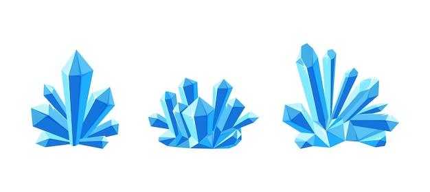 Cristalli di ghiaccio o gemme con paralume set di drusi di cristallo in minerale blu