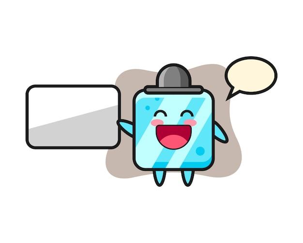 Illustrazione del fumetto del cubo di ghiaccio che fa una presentazione