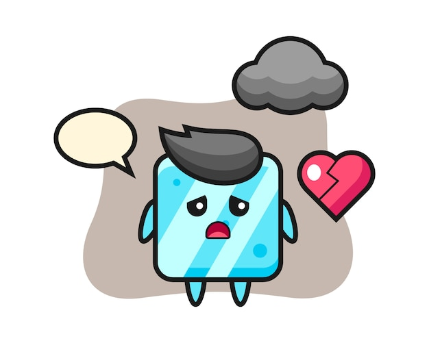L'illustrazione del fumetto del cubo di ghiaccio è cuore spezzato