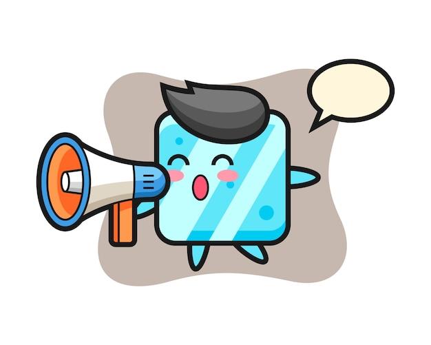 Illustrazione del carattere del cubo di ghiaccio che tiene un megafono