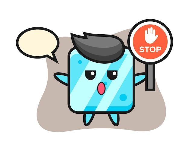 Illustrazione del carattere del cubo di ghiaccio che tiene un segnale di stop