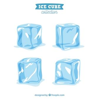 Collezione di cubetti di ghiaccio con design piatto