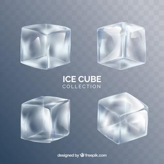 Collezione di cubetti di ghiaccio con uno stile realistico