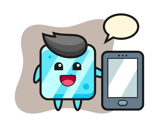 Fumetto dell'illustrazione del cubo di ghiaccio che tiene uno smartphone