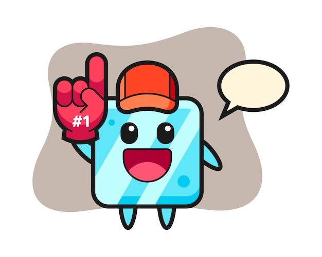 Fumetto dell'illustrazione del cubo di ghiaccio con il guanto dei fan di numero