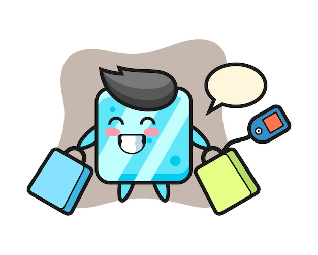 Fumetto della mascotte del cubo di ghiaccio che tiene un sacchetto della spesa