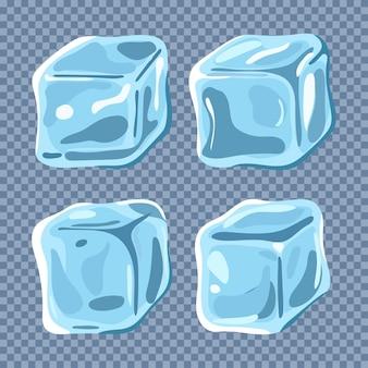Insieme del fumetto di vettore del cubo di ghiaccio isolato su uno sfondo trasparente.