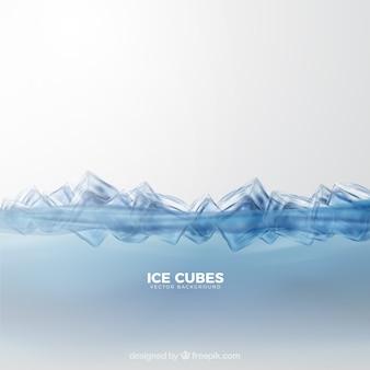 Sfondo di cubetti di ghiaccio con stile realistico