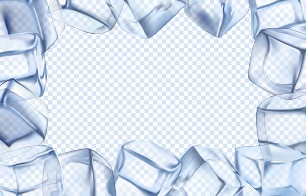 Cornice di cubetti di ghiaccio. confine freddo, cubetto freddo ghiacciato e cornice rettangolare ghiacciata