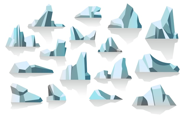 Lastre di ghiaccio iceberg masse di acqua ghiacciata vettore