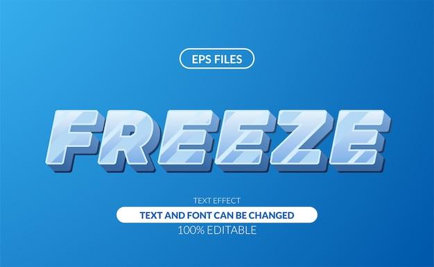 Ice frost freeze glass 3d white sans serif modificabile effetto di testo. file eps