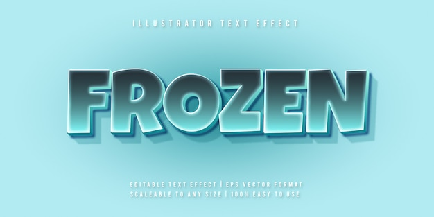 Effetto del carattere stile di testo allegro congelato ghiaccio