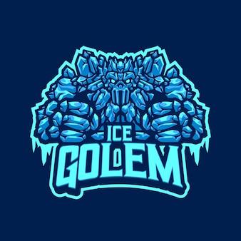 Logo della mascotte del golem di ghiaccio per sport e sport di squadra