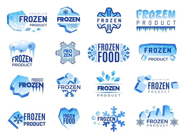 Logo del prodotto ice. elementi grafici freddi blu di identità aziendale degli alimenti congelati. prodotto a forma di fiocco di neve, distintivo della temperatura congelata per l'illustrazione del frigorifero
