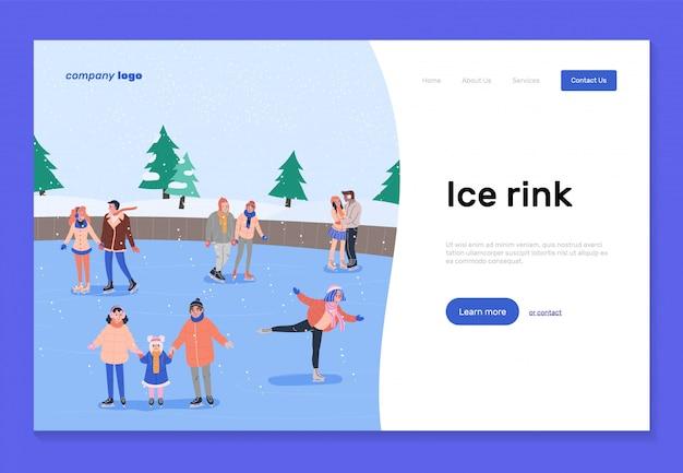 Modello della pagina di destinazione della pista di pattinaggio sul ghiaccio