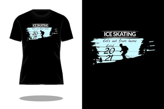 Disegno della maglietta vintage silhouette pattinaggio sul ghiaccio