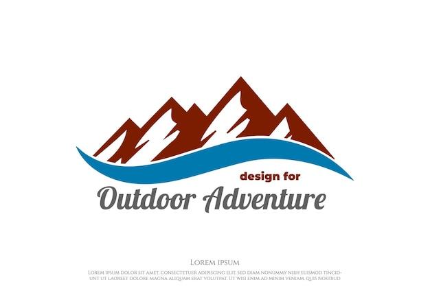Ice snow mountain hill con lake river creek logo design vector