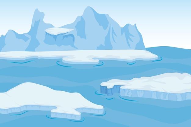Paesaggio artico della scena del blocco dell'iceberg