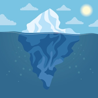 Blocco di iceberg e paesaggio di scena artica del sole