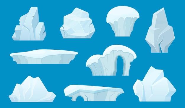 Fumetto di iceberg. antartico ghiaccio rocce bianche paesaggio invernale neve insieme. roccia di ghiaccio, iceberg in antartide, illustrazione della montagna del ghiacciaio