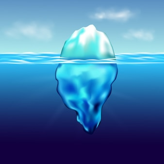 Iceberg floatinginter paesaggio artico con acqua pura blu e colline di neve