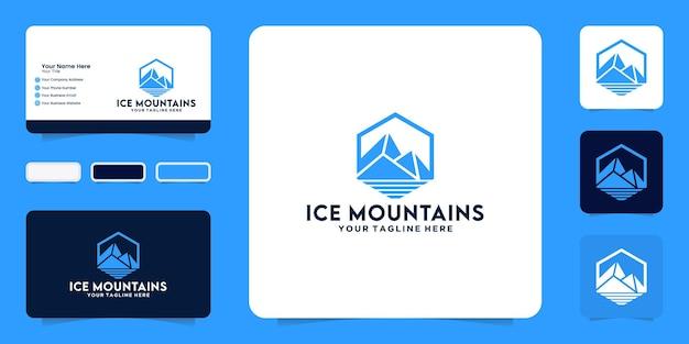 Ispirazione e biglietto da visita per il design del logo iceberg