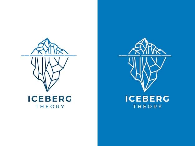 Concetto di design del logo monolinea iceberg