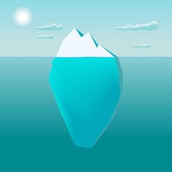 Iceberg nell'illustrazione dell'acqua dell'oceano, grande iceberg che galleggia nel mare