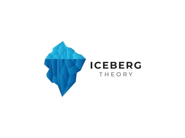 Concetto di design del logo iceberg al mare