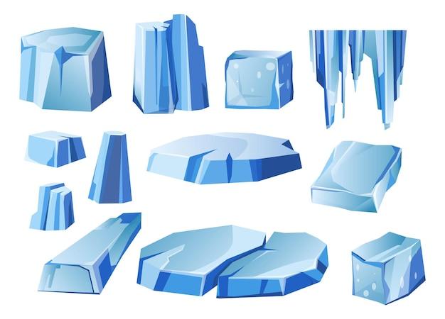 Iceberg e masse di ghiaccio alla deriva sulla superficie vettore