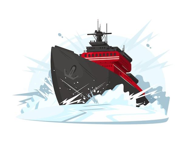 Il rompighiaccio rompe il ghiaccio nel mare o nell'oceano ghiacciato