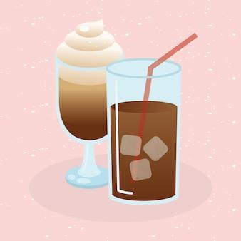 Illustrazione di vetro e tazza di caffè ghiacciato