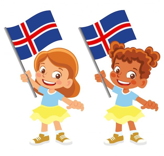 Bandiera dell'islanda in mano insieme