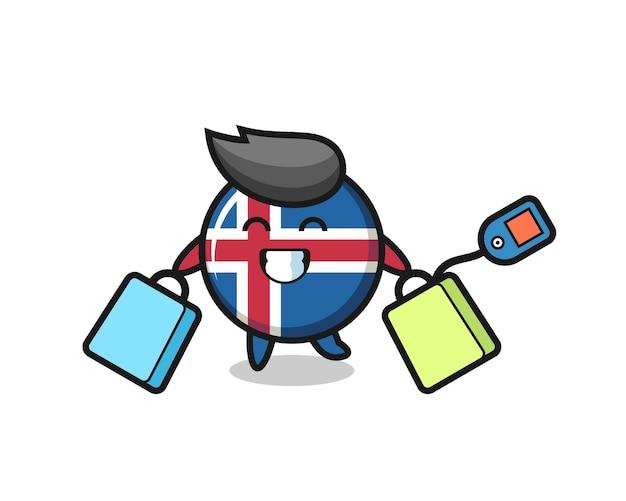 Fumetto della mascotte della bandiera dell'islanda che tiene una borsa della spesa, design carino
