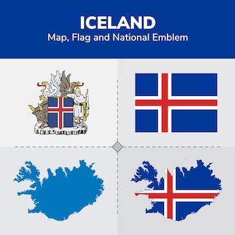 Mappa islanda, bandiera e emblema nazionale
