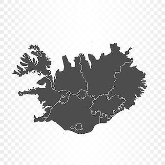 Mappa dell'islanda su sfondo trasparente