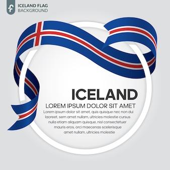 Illustrazione di vettore della bandiera del nastro dell'islanda su un fondo bianco