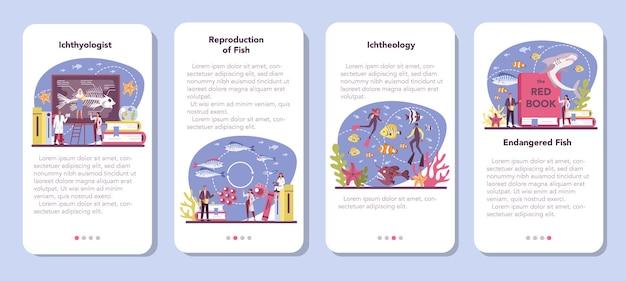 Set di banner per applicazioni mobili ittiologo. o