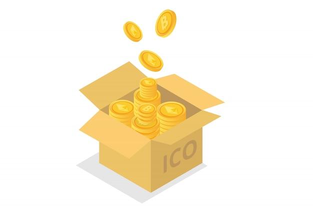 Concetto ico, offerta iniziale di monete. illustrazione. Vettore Premium