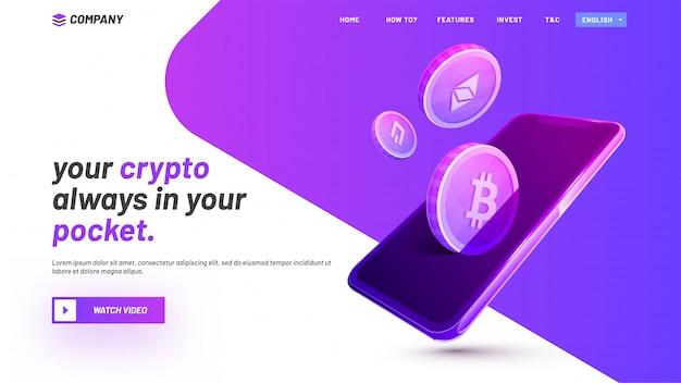 Pagina di destinazione ico del sito web, con criptovalute e dispositivo intelligente.