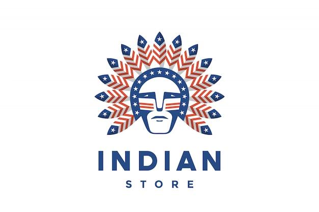 Icona dell'uomo americano con piume di capo indiano sulla testa