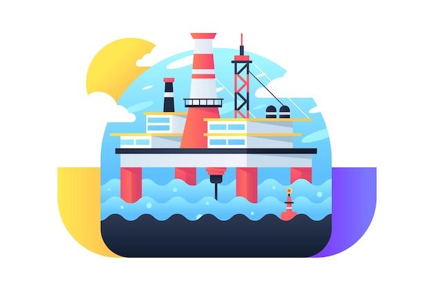 L'icona della grande piattaforma petrolifera in mare produce minerali per la lavorazione. simbolo di concetto isolato nella macchina moderna di stile web alle risorse minerarie dell'acqua blu.