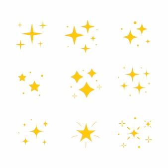 Icona scintillio luminoso. set di icone di scintillii. elemento a stella in oro giallo, leggero