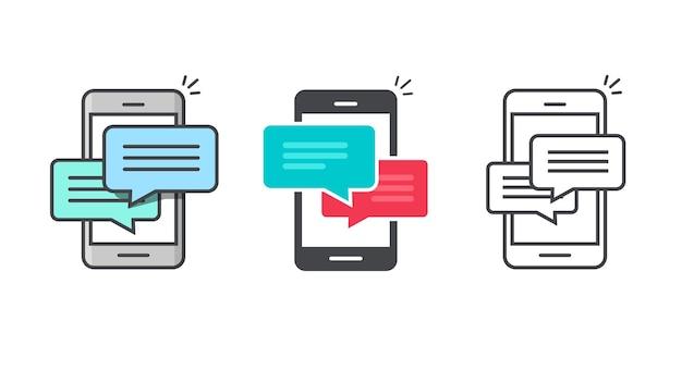 Icona del messaggio in chat sul telefono cellulare avviso o linea di notifica delineare l'arte del fumetto piatto