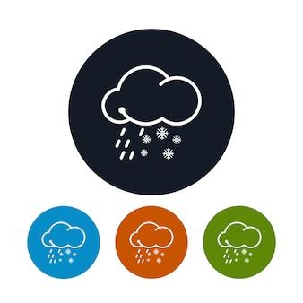 Icona nuvola con fiocchi di neve e pioggia, i quattro tipi di icone rotonde colorate nevischio, simbolo del tempo, illustrazione vettoriale