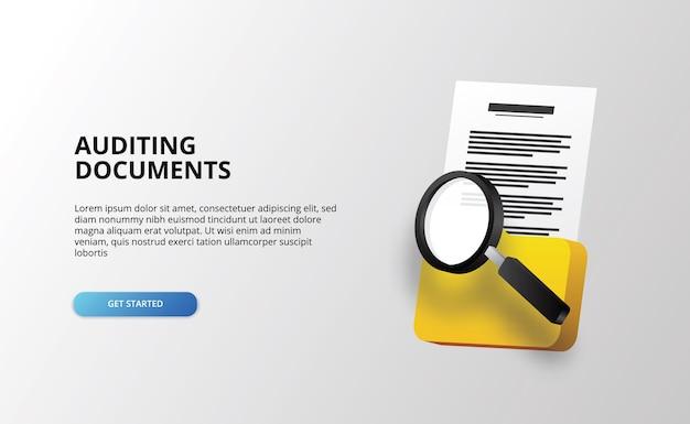 Icona cartella file documento con lente di ingrandimento per il controllo e l'analisi investigativa