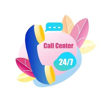 Icon handset call center assistenza clienti 24 ore su 24, 7 giorni su 7