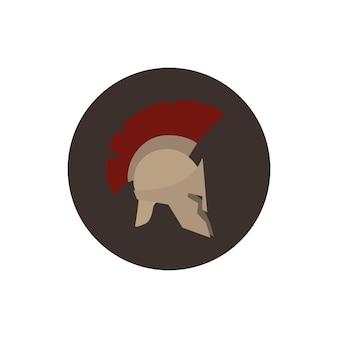 Elmo di icona, elmo romano o greco di antiquariato per soldati di protezione della testa con una cresta di piume o crine di cavallo con fessure per gli occhi e la bocca, illustrazione vettoriale