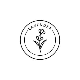 Icona della lavanda in stile lineare alla moda. distintivi di lavanda organica a base di erbe di vettore del modello e dell'emblema di progettazione dell'imballaggio. isolato su sfondo bianco. può essere usato per tè, cosmetici, medicinali