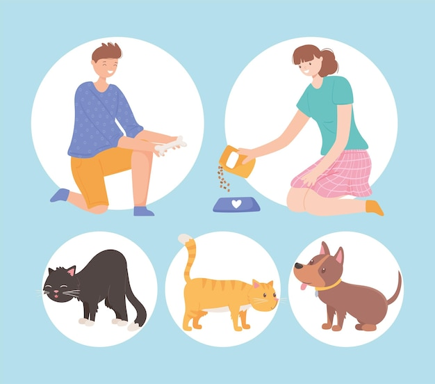 Persone icona e animali domestici